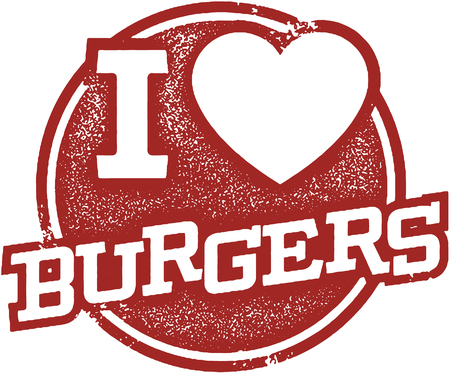 I Love Burgers Stamp Illustration