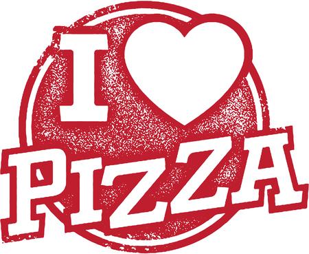 Ik houd van Pizza Stamp Stock Illustratie
