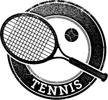 sports equipment: Vintage Tennis Sport Stamp