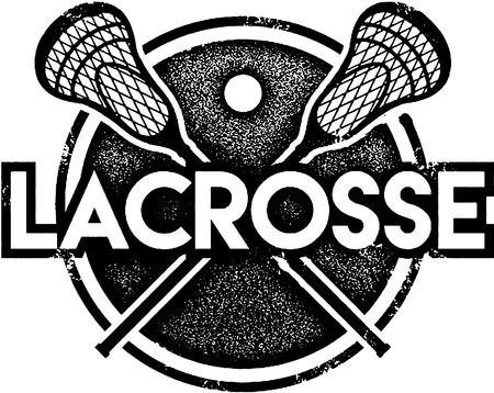 lax: Vintage Lacrosse Sport Stamp Illustration