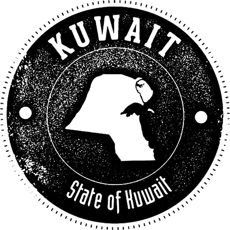 scratched: Vintage style stamp featuring the country of Kuwait