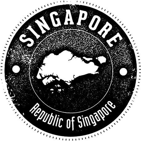 Vintage style stamp featuring the country of Singapore