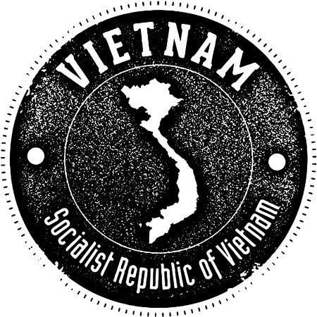 Vintage style stamp featuring the country of Vietnam 向量圖像