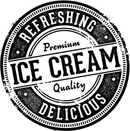 Premium Ice Cream Dessert Stamp Illustration