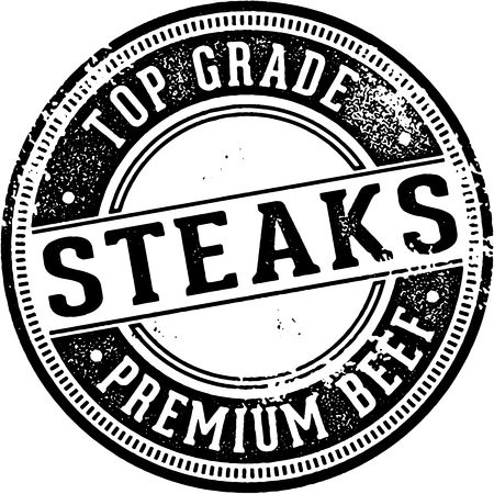 Premium Top Grade Steaks Stamp Illustration