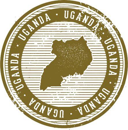 빈티지 우간다 아프리카 국가 관광 우표 일러스트