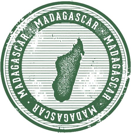 Vintage Madagascar African Country Tourism Stamp Illustration