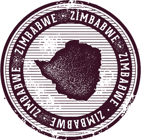 grunge backgrounds: Vintage Zimbabwe African Country Tourism Stamp