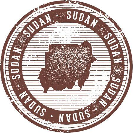 Vintage Sudan African Country Tourism Stamp Illustration