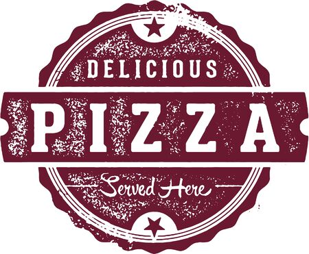 Delicious Pizza Stamp for Pizzeria Menu
