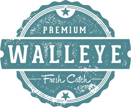 신선한 Walleye Fish Stamp