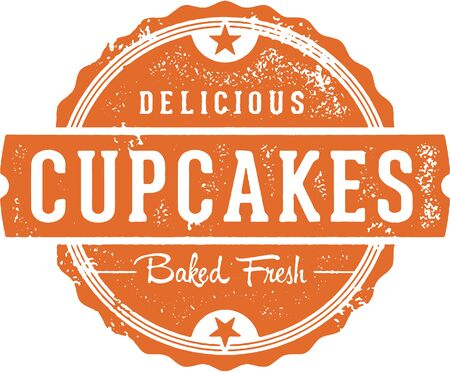 Fresh Delicious Cupcakes Bakery Sign Illustration