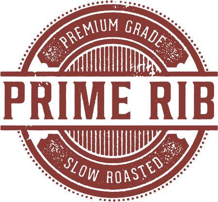 Top Prime Rib Steakhouse Menu Stamp Vectores