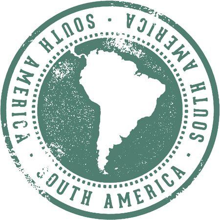 南アメリカ大陸旅行スタンプ  イラスト・ベクター素材