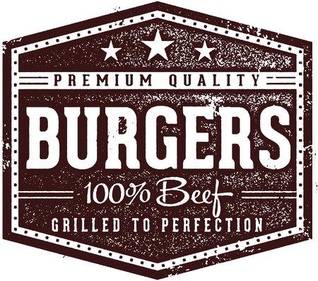 Hamburguesas Vintage Restaurant Sign Ilustración de vector