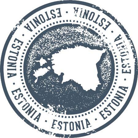 Estonia Country Travel Stamp Illustration