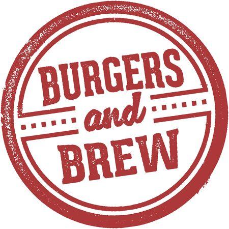 Burgers and brew restaurant stamp illustration.