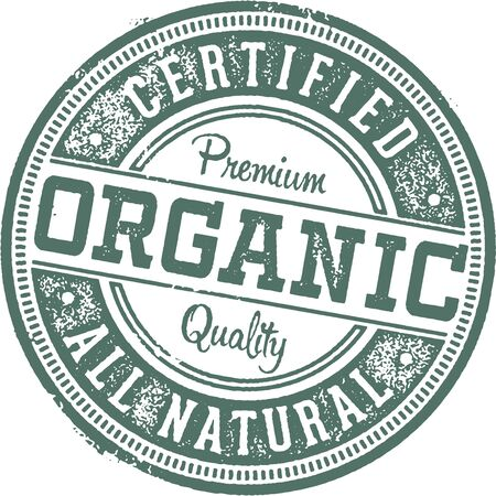 Certified Organic Rubber Stamp. Illustration