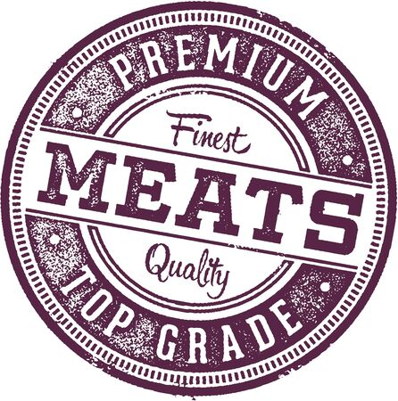 Premium Meats Butcher Shop Stamp isolated on white Illustration