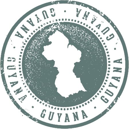 Guyuna South American Country Travel Stamp Illustration