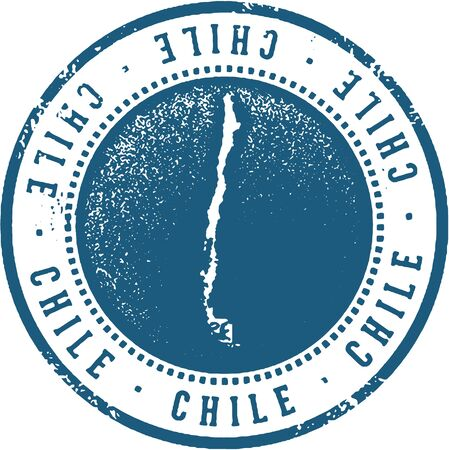 Chile South American Country Travel Stamp Illustration