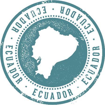 Ecuador South American Country Travel Stamp Ilustração
