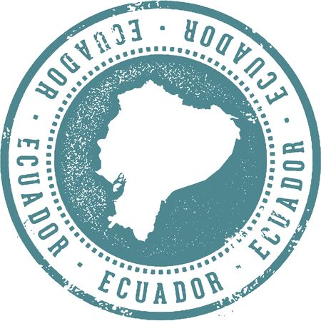 Ecuador South American Country Travel Stamp Illustration