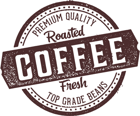 Fresh Roasted Coffee Diner Stamp Illustration