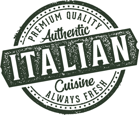 Authentic Italian Cuisine Restaurant Stamp Illustration