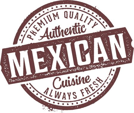 Authentic Mexican Cuisine Restaurant Stamp