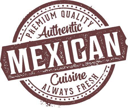 Authentic Mexican Cuisine Restaurant Stamp