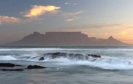 seascapes: Table Mountain South Africa at sun-set. Stock Photo