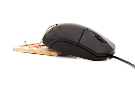 Computer mouse caught in a moustrap on a white background photo