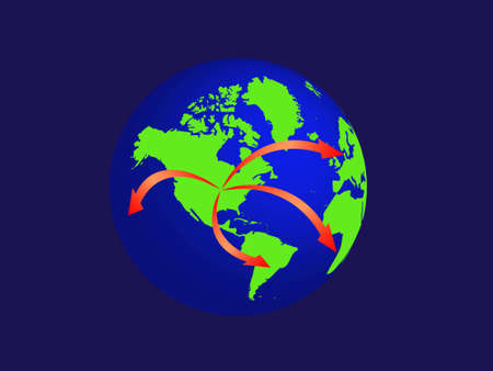 Illustration of the world with arrows pointing from the USA to the rest of the world. Vector
