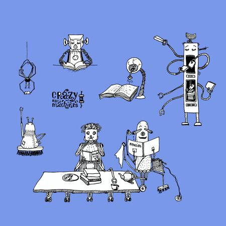 droid: Collection of crazy robots. Illustration