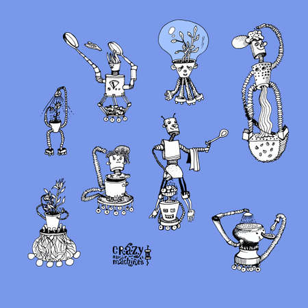 Collection of crazy robots. Illustration