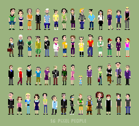 56 pixel people of all ages and professions