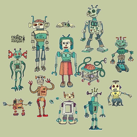 A collection of funny mad robots, cartoons and retro.