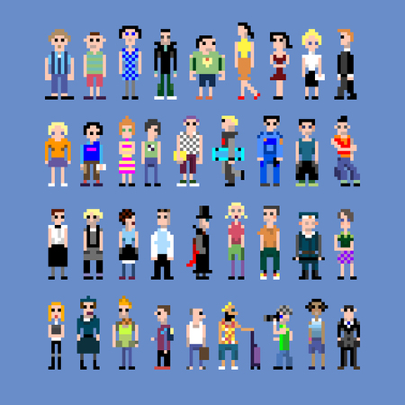 A collection of pixel people of different professions