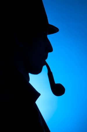 private information: Silhouette of a private detective isolated on a blue background