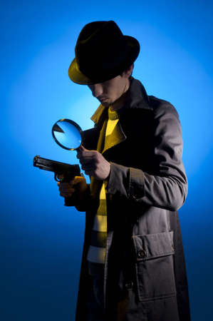 trench: Private detective searching for information, isolated on a blue background