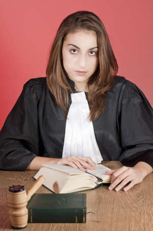 female judge: Serious young law school student