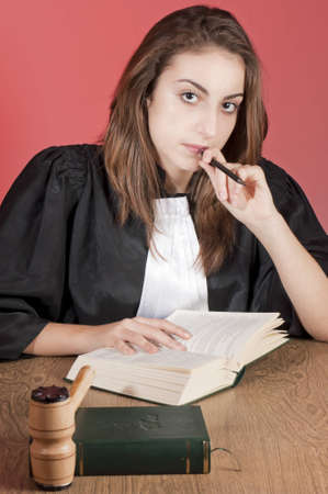 Concetrated young law school student photo