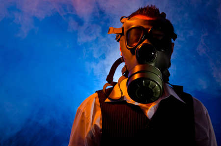 Man wearing a gas mask for protection against pollution