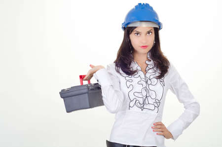Young business woman chooses the proper tool Stock Photo