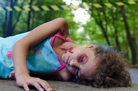 Child victim of a car accident Stock Photo