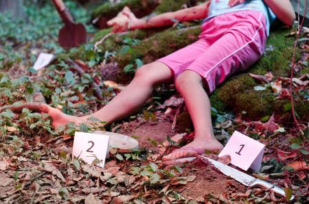 uccidere: Oggetti marcati su una scena del crimine