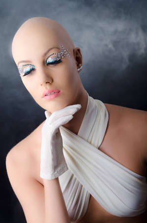 Model with a fake bald   Stock Photo