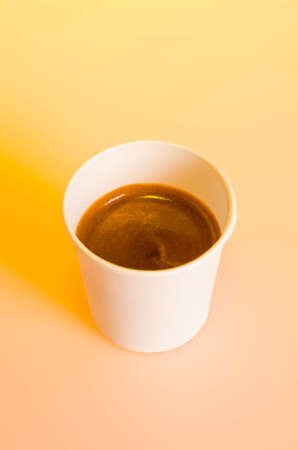 to go cup: Take-out coffee in cardboard cup Stock Photo