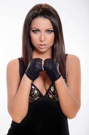 voiceless: Beautiful girl taking a defensive attitude